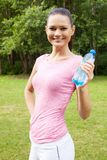 Woman  with water outdoors Royalty Free Stock Photos