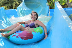 Woman in the water-park. Woman in the water park Stock Photos