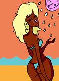 Woman and water from shower. Cartoon woman on beach and water from shower, sea and shower stock illustration