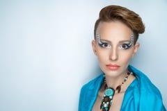 Woman water studio blue make up royalty free stock photo