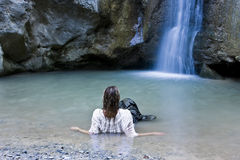 Woman in waterfall Stock Photos