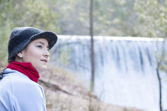 Woman at the waterfall Royalty Free Stock Images