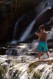 Woman waterfall Cirque de Navacelles Stock Image