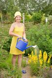 Woman watering flowers Royalty Free Stock Photos