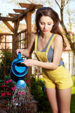 Woman watering flowers Stock Image