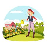 Woman Watering Flowers At Garden Or Yard Stock Photos