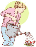 Woman watering garden. Vector art of a Woman watering her garden Royalty Free Stock Photography