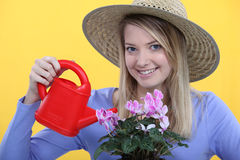 Woman watering her flowers. Royalty Free Stock Photography