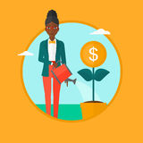 Woman watering money flower vector illustration. An african-american business woman watering a money flower. Woman taking care of her finances. Concept of Stock Image