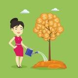 Woman watering money tree vector illustration. Stock Photography