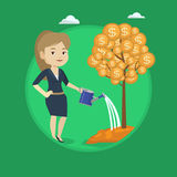 Woman watering money tree vector illustration. Stock Photography