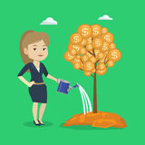 Woman watering money tree vector illustration. Caucasian businesswoman watering money tree. Young business woman investing money in business project Stock Image