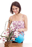 Woman watering orchid Stock Photos