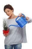 Woman watering plant Royalty Free Stock Images