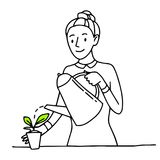 Woman is watering a plant in a pot from a watering can. Outline hand drawn sketch.  Royalty Free Stock Image