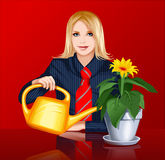 Woman watering plants. Young woman watering plants on the red background Royalty Free Stock Photo