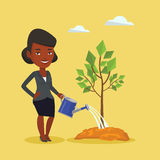 Woman watering tree vector illustration. Royalty Free Stock Photography