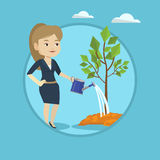 Woman watering tree vector illustration. Stock Photography