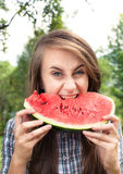 Woman and watermelon Royalty Free Stock Photos