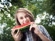 Woman and watermelon Royalty Free Stock Photo