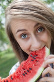 Woman and watermelon Stock Image