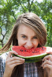 Woman and watermelon Royalty Free Stock Photography