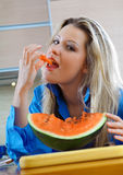 Woman with watermelon Stock Photography