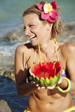 Woman with watermelon cocktail Royalty Free Stock Image