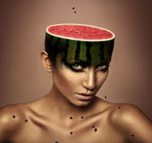 Woman with watermelon head Royalty Free Stock Photos