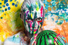 Woman Watermelon. Portrait of beautiful young girl woman lady model painting  canvas art painting expressionism pointillism. Bright creative makeup expressive Stock Image