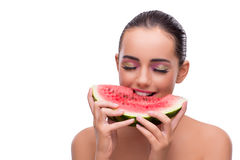 The woman with watermelon slice isolated on white Stock Photo