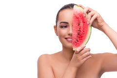 The woman with watermelon slice isolated on white Royalty Free Stock Images