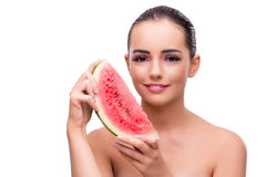 The woman with watermelon slice isolated on white Royalty Free Stock Photography