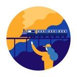 Woman wave goodbye with train. flat character design vector illu stock illustration