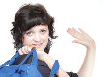Woman waving hand - goodbye, bag isolated Stock Images