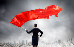Woman waving red flag Royalty Free Stock Image