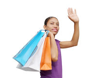 woman waving Stock Photography