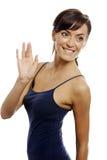 Woman waving Stock Photo