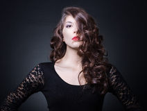 Woman with wavy hair. Stock Photo