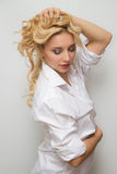 Woman with wavy hairstyle. Beautiful European Woman with wavy hairstyle Stock Image