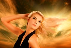 Woman wawing her hair Royalty Free Stock Images