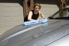 Woman Waxing Car Royalty Free Stock Photo