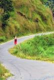 Woman on the way around fewa lake of pokhara,nepal Royalty Free Stock Image