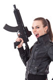 Woman with weapon Royalty Free Stock Image
