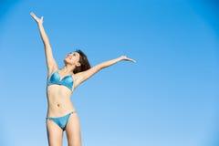 Woman wear bikini. Beauty woman wear bikini and feel free with blue sky Stock Photography