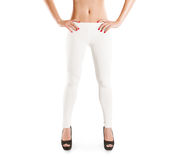 Woman wear blank white leggings mockup, isolated. Stock Photo