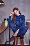 Woman wear casual suit style fashion organic wool cashmere Stock Image