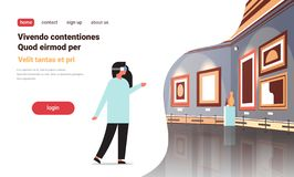 Woman wear digital glasses virtual reality art gallery museum interior creative contemporary paintings artworks or royalty free illustration