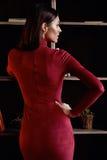 Woman wear fashion skinny dress beautiful model accessory bag Stock Image