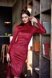 Woman wear fashion skinny dress beautiful model accessory bag Royalty Free Stock Photos